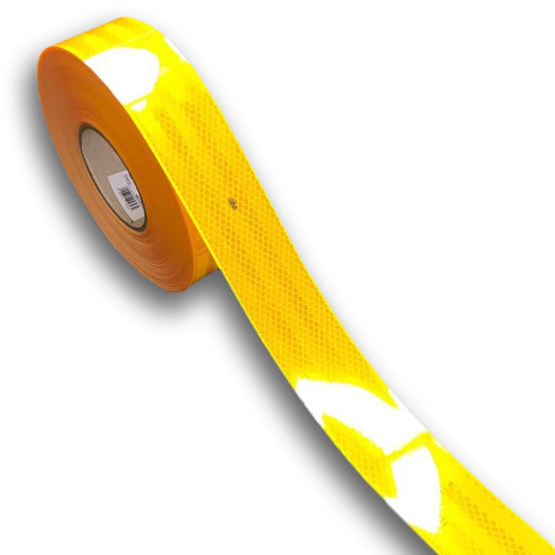 easydruck24de 3M Diamond Grade 983 refelektierende Konturmarkierung I Konturband in gelb I 20 Meter I Reflektorband selbstklebend fü r Anhä nger LKW Festaufbauten