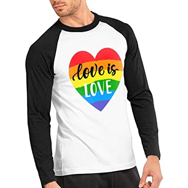 5a1a92d5 Amazon.com: Rainbow Gay Pride Flag Printed Love is Love Men's Long Sleeve  Raglan Round Neck T-Shirts Casual Tops: Clothing