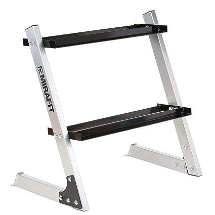 Mirafit - Estante de pesas para mancuernas de 2 niveles (150 kg)
