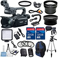 Canon XA25 Professional Camcorder with 2pc 32GB High Speed Memory Cards + Wideangle Lens + Telephoto Lens + LED Light + 4pc Macro Close Up Filters + Accessory Bundle - International Version