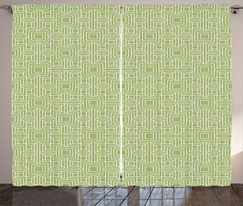 Geometric Curtains by Ambesonne, Complex Detailed Nested Sqare and Line Pattern on Green Background, Living Room Bedroom Window Drapes 2 Panel Set, 108W X 63L Inches, Pistachio Green and - Fashion Sqare
