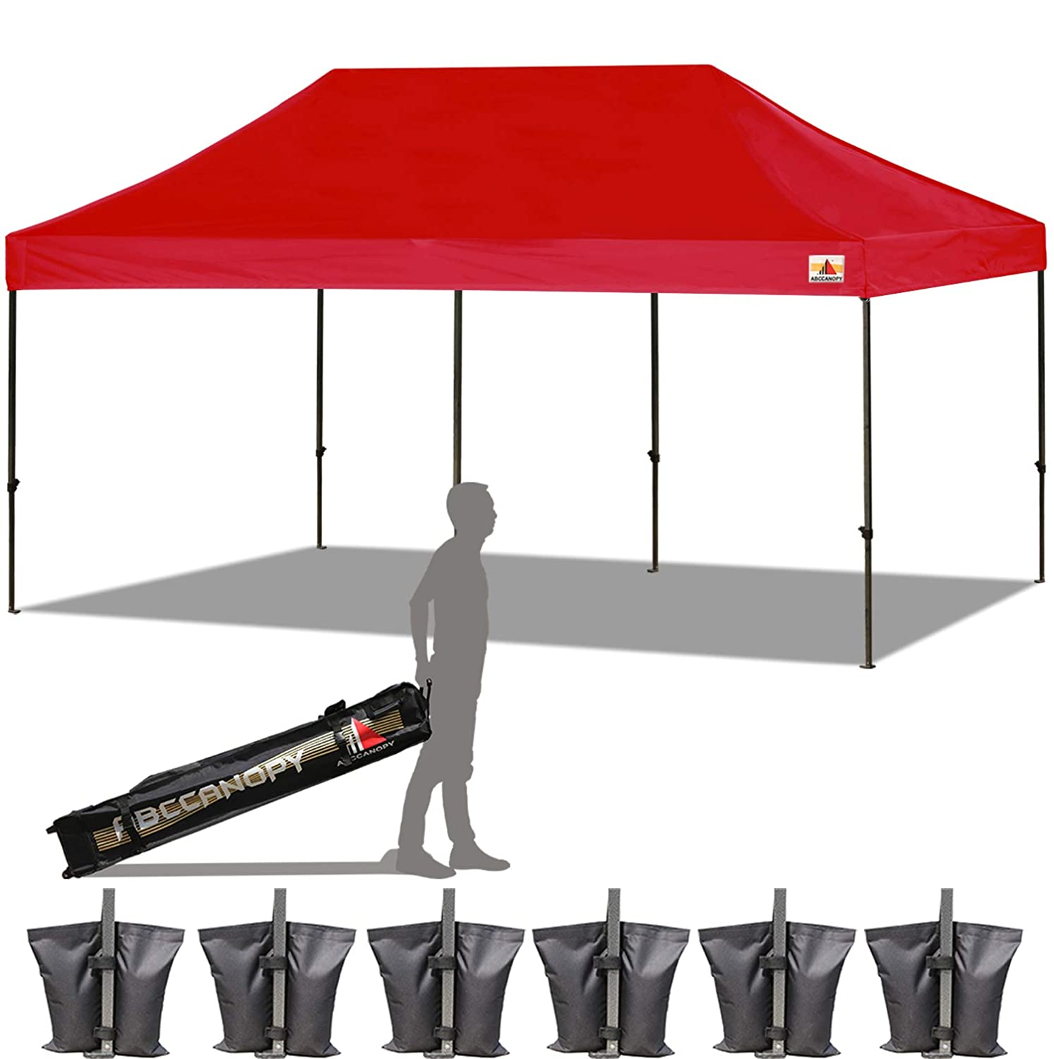 ABCCANOPY 23 Colors 10×20 Pop up Tent Instant Canopy Commercial Outdoor Canopy with Wheeled Carry Bag Bonus 6 Weight Bags Red