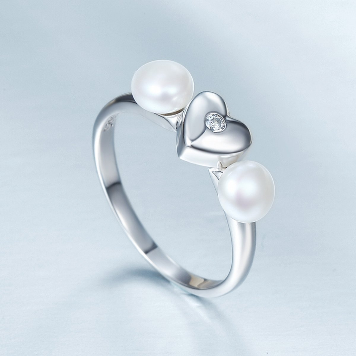 Everbling Sweet Heart with Freshwater Cultured Pearl 925 Sterling Silver Ring Clear CZ