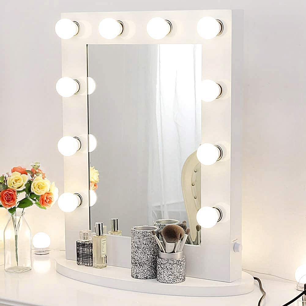 White Hollywood Makeup Vanity Mirror with 12 Dimmable Light Bulbs, Natural Daylight Lighting Wall Mirror with Detachable Base, LED Lighted Cosmetic Mirror for Bedroom Dressing Room 25.6 x 19.7