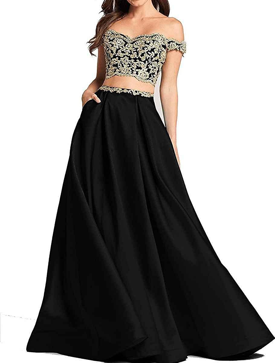 Ruisha Women Off Shoulder Gold Lace Appliques Two Piece Prom Evening Dresses Long 2019 Formal Gown RS0124