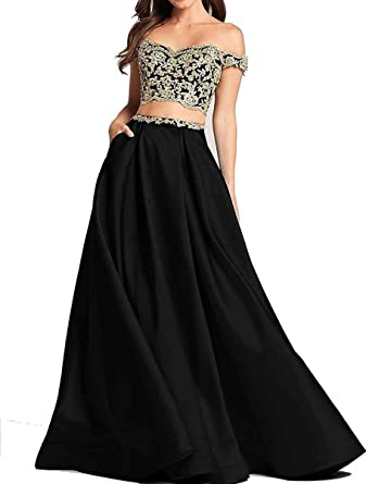 bbf8bea013f Ruisha Women Off Shoulder Gold Lace Appliques Two Piece Prom Evening Dresses  Long 2018 Formal Gown