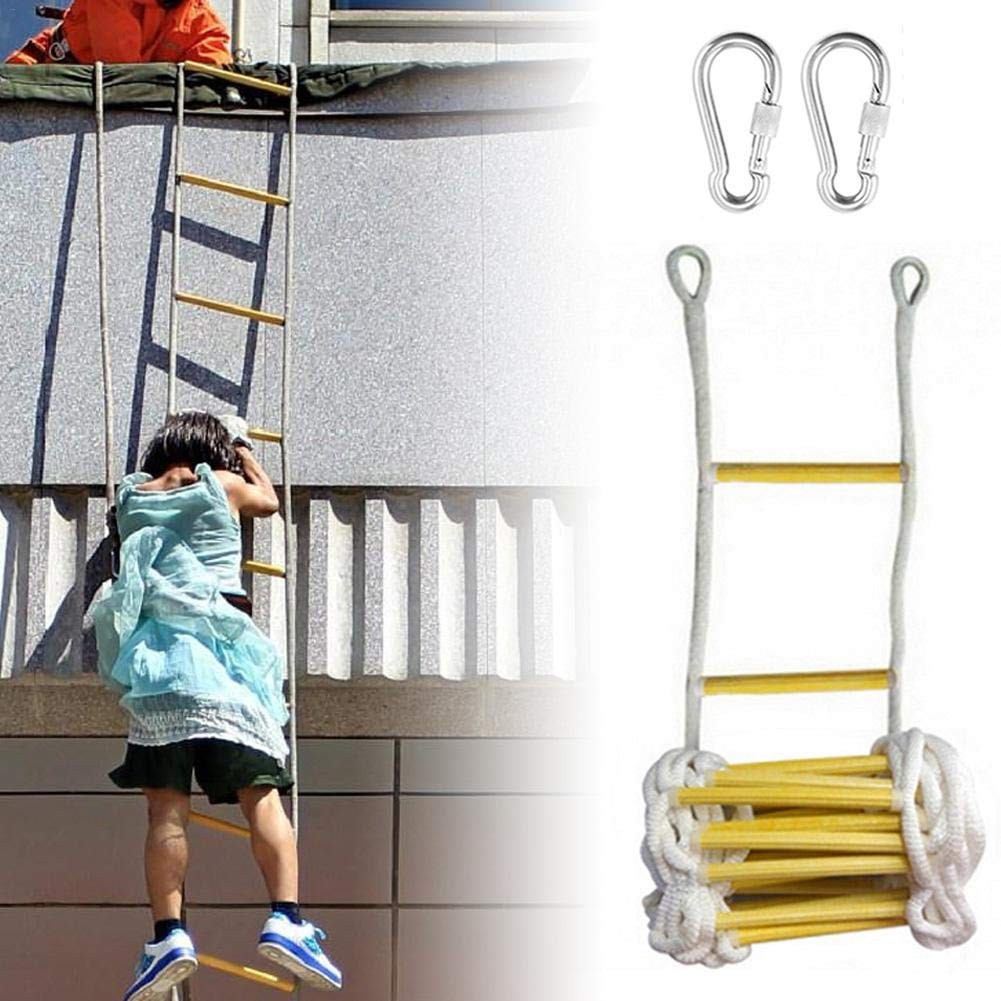 escalera redonda de nailon suave para escalera de ingenier/ía de escalada en el hogar 5 m amarillo con ganchos resistente al fuego Escalera de emergencia resistente al fuego
