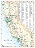 California Highways and Roads Wall Map Gloss Laminated