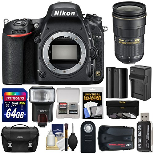 Nikon D750 Digital SLR Camera Body with 24-70mm f/2.8 Lens + 64GB Card + Battery/Charger + Case + Filters + GPS + Flash + Kit ()