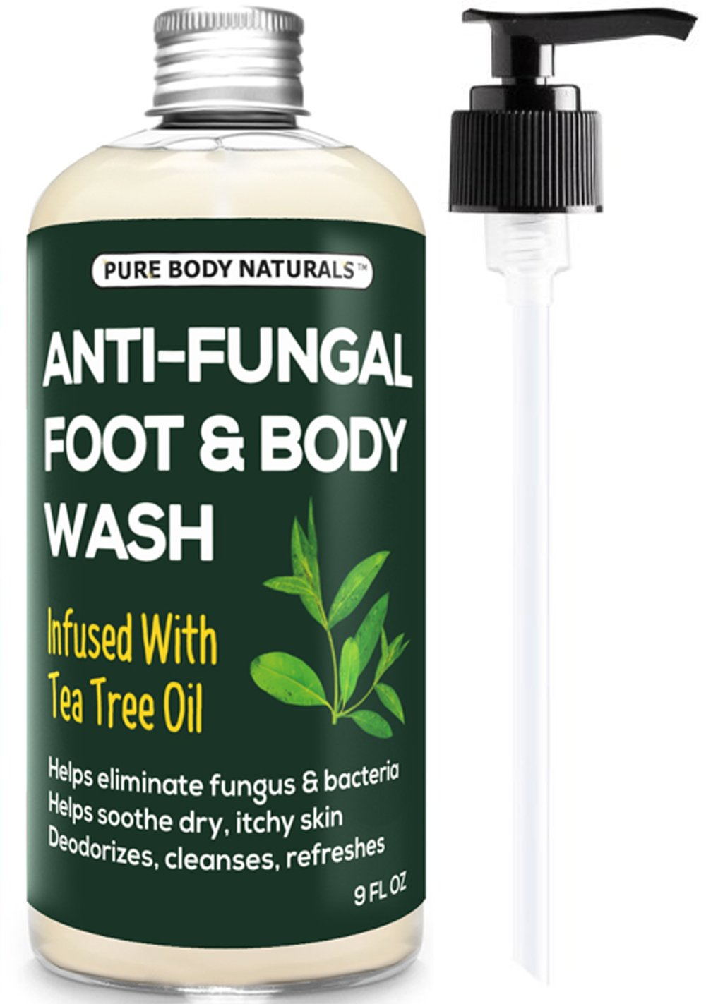 Anti-Fungal Body and Foot Wash with Tea Tree Oil for Athletes Foot and Fungus by Pure Body Naturals, 9 Fl. Ounce