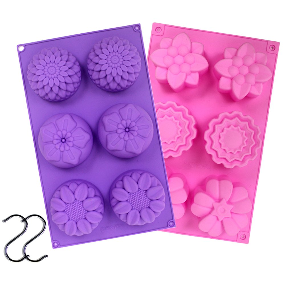 JUSLIN 2 PCS 6 Cavity Assorted Silicone Flower Soap Mold DIY Soap Mold Handmade Chocolate Biscuit Cake Muffine Silicone Mold, with 2 S Hooks as Gift JUSLIN USA 4336901348