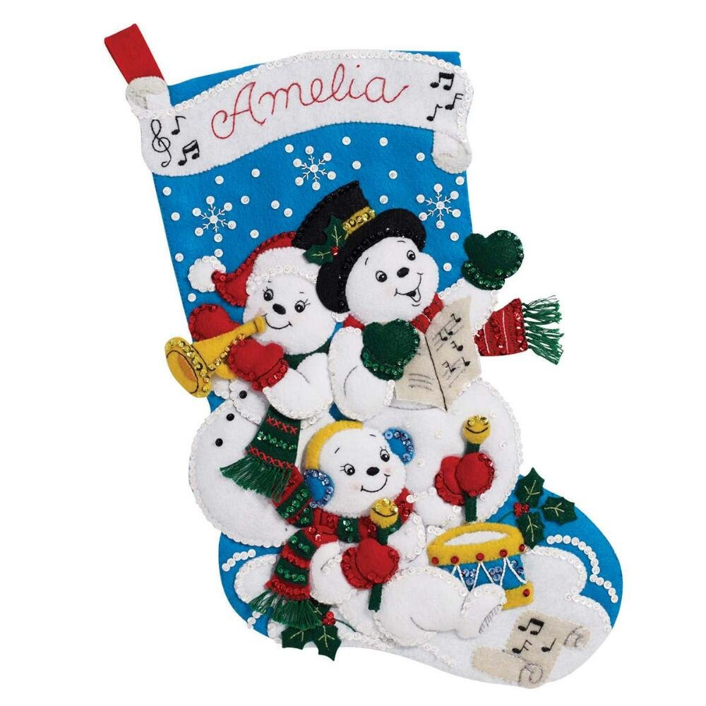 Bucilla 18-Inch Christmas Stocking Felt Applique Kit, 86895 Snowman Family Band Plaid 4336935242