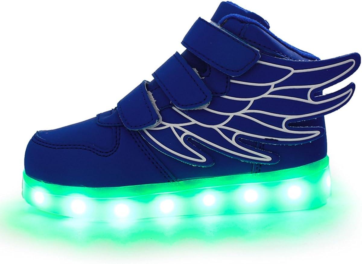 DoGeek Scarpe LED Bambino Scarpe con Luci Luminosi Sneakers con Luce nella Suola Bright Tennis Scarpe Ali USB 7 Colori Lampeggiante Trainners