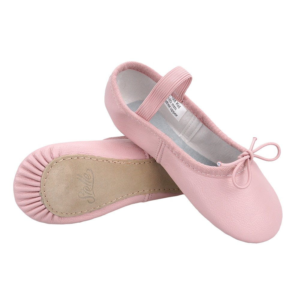 STELLE Premium Leather Ballet Slipper/Ballet Shoes(Toddler/Little Kid/Big Kid) (1MB, Pink)
