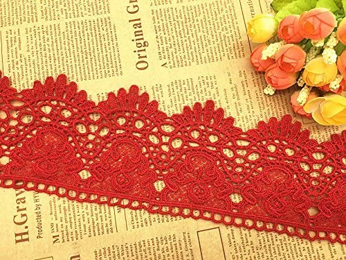 Fuchsia 5 Yard Venice Floral Lace Edge Trim Ribbon 9cm Wide Vintage Style 8 Color Edging Trimmings Fabric Embroidered Applique Sewing Craft Wedding Bridal Dress Embellishment Gift Party Decoration