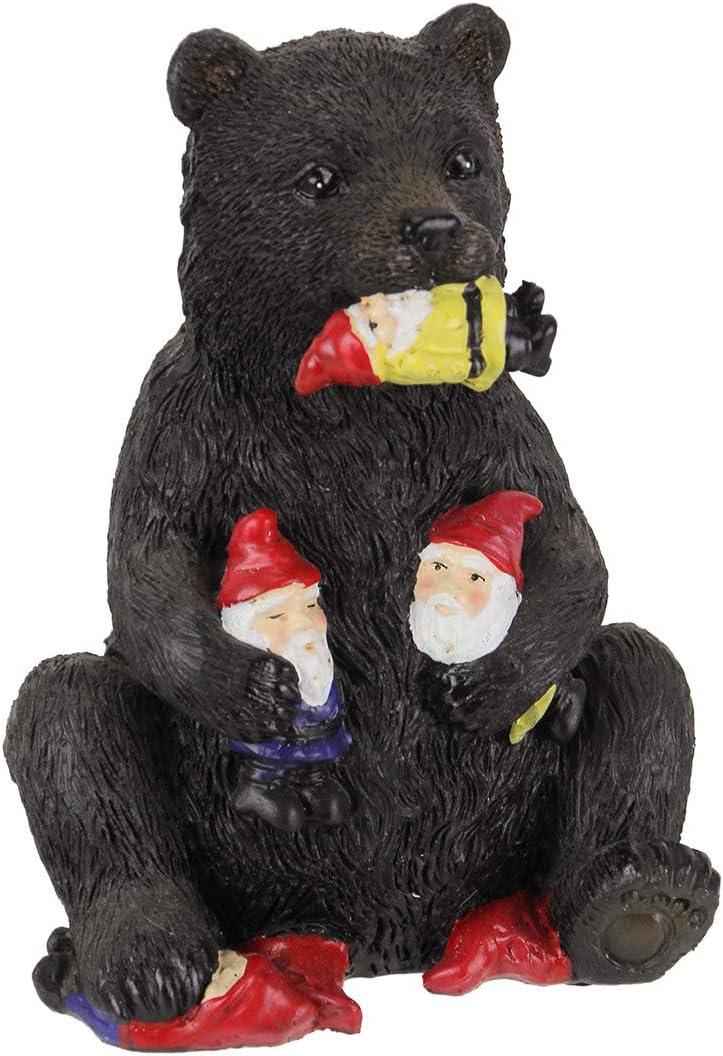 DeLeon Resin Naughty Black Bear Eating Garden Gnomes Figure Indoor Outdoor Sculpture