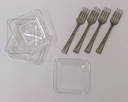 40 2.5u0026quot; Mini Square Dessert Plates And 50 4u0026quot; Mini Silver Tasting Forks. & Amazon.com: 40 2.5