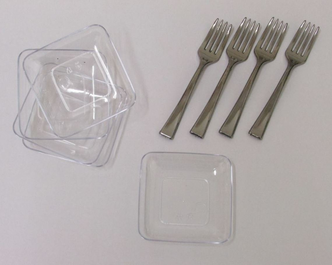 40 2.5'' Mini Square Dessert Plates And 50 4'' Mini Silver Tasting Forks. 90 Piece Tasting Sampling Dessert Appetizer Set. Disposable Plastic Hors D'oeuvres Combo Set.