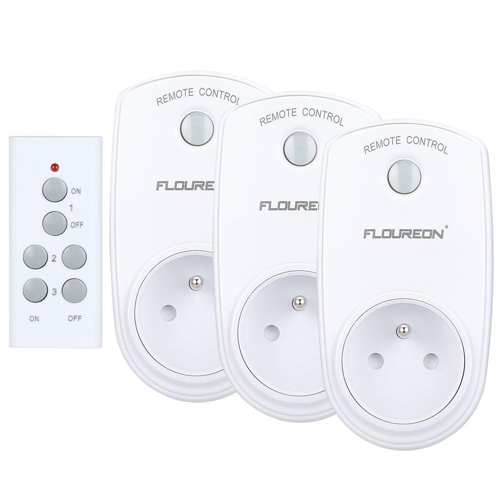 Prise Télécommandée Floureon, Kit de 3 Prises Programmables sans Fil à Distance avec Télécommande à Portée de 30m pour Électroménagers - Blanc