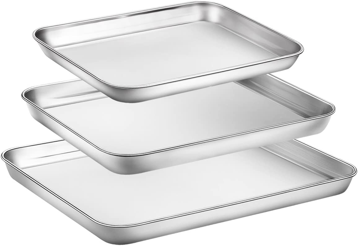 Baking Sheet Set of 3, Zacfton Stainless Steel Cookie Sheet Set 3 Pieces Toaster Oven Tray Pan Rectangle Size Non Toxic & Healthy,Superior Mirror Finish & Easy Clean, Dishwasher Safe