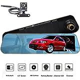 ROGUCI 4.3 '' Rétroviseur inversé Moniteur LCD + 170 degrés Grand angle Nuit Version et Waterproof Back-up Camera Car DVR Enregistreur vidéo Dash Cam Parking Sensor System