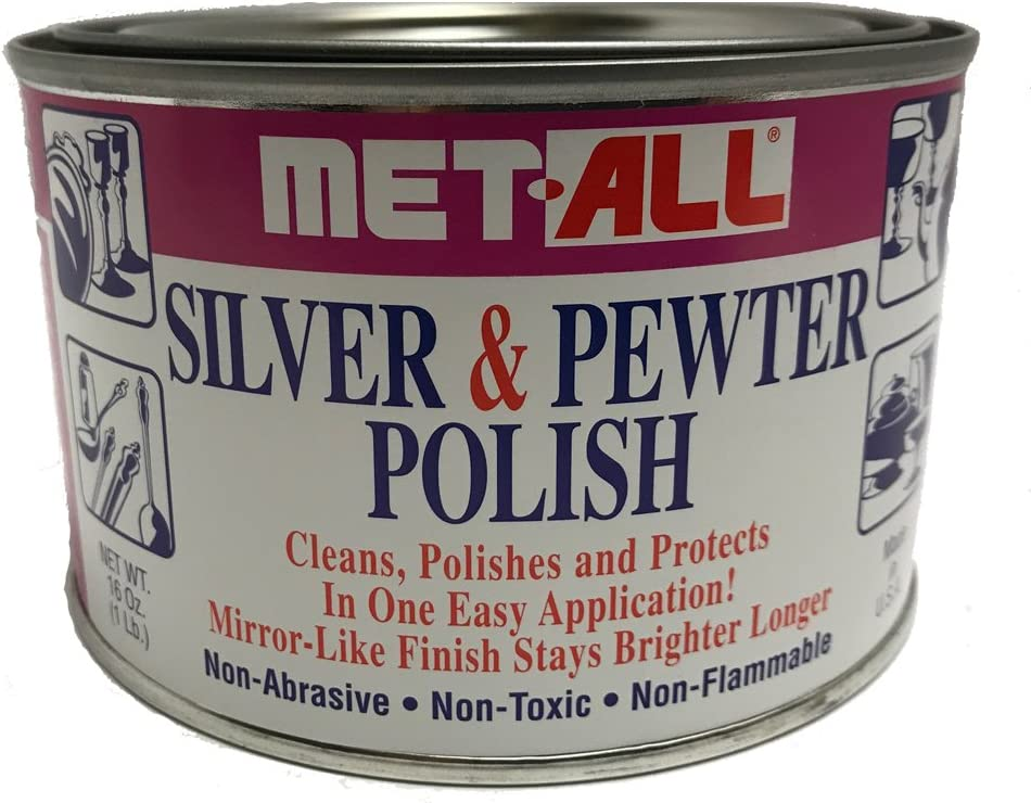 Met-all Silver sterlin Pewter Polish Instantly Shines, Cleans, Polishes Silverwares, Trophies, Antiques, Cutlery, Trays, Flatware, Decoratives, Collectibles 16oz + Grace-I-AM XL Mircofiber Cloth