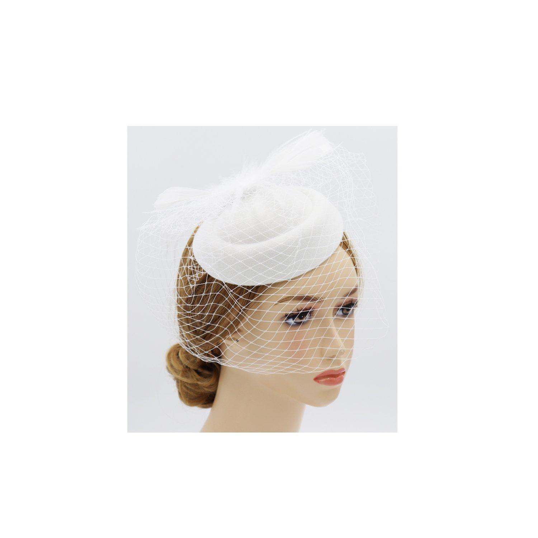 Wheebo Fascinator Hat Flower Feather Mesh Net Veil Party Wedding Headband for Women Girls (D-White)