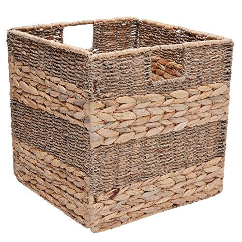 Foldable Storage Baskets Organizer Extra Large,11.8x11.8x11.8,1-Piece Gift Lining StorageWorks Seagrass Storage Wicker Basket