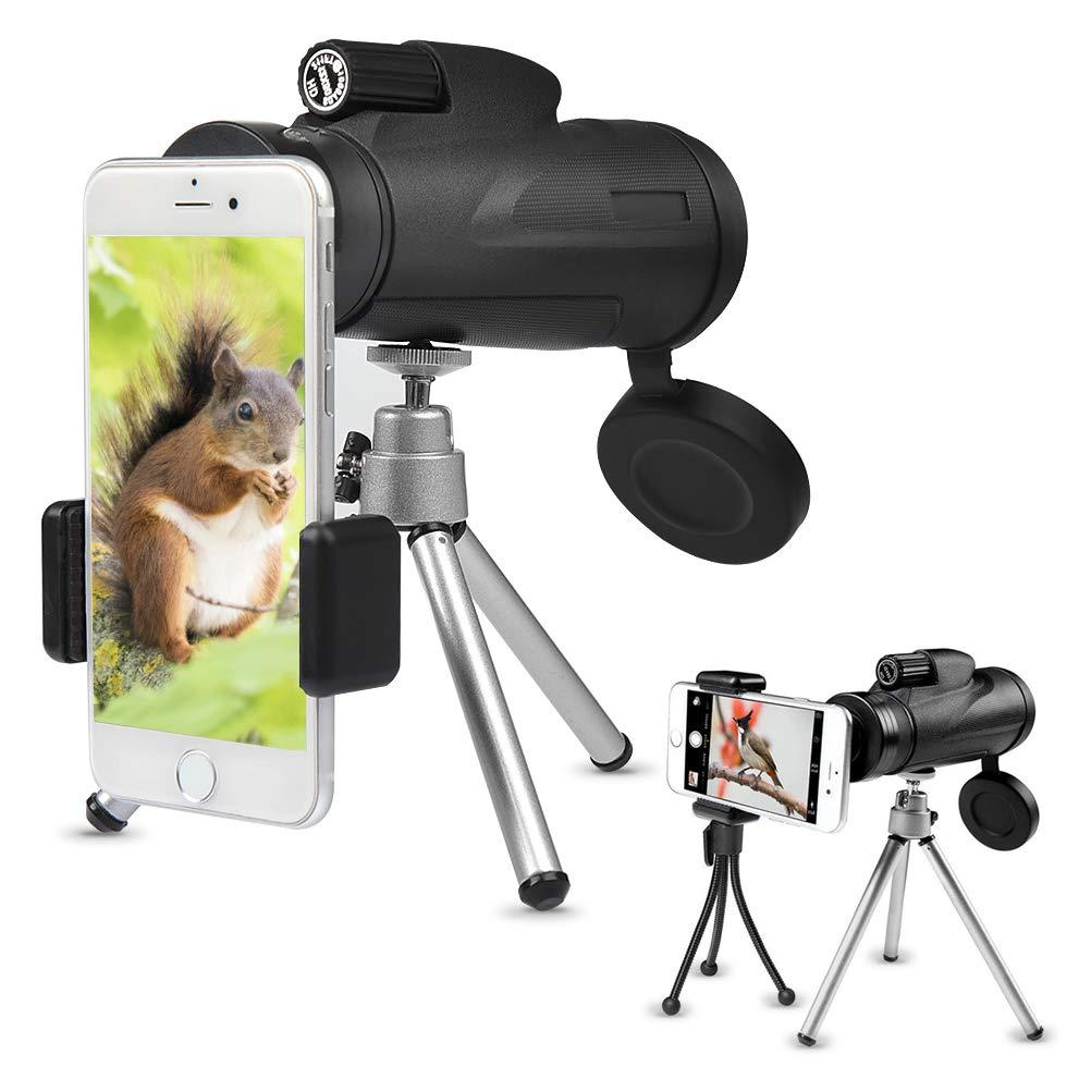 BUYGOO Telescopio Monocular 12 x 50 HD Spotting Scope Monoculares Prisma con Trí pode y Telé fono Clip Impermeable para Senderismo/Camping/ Concierto/Observació n