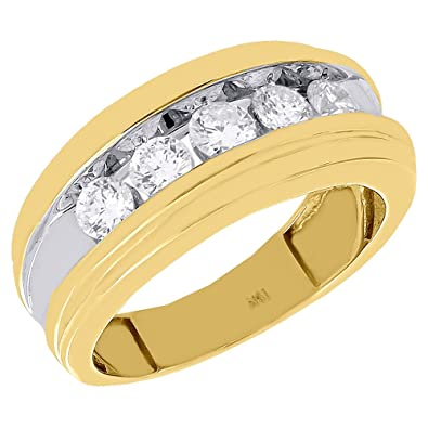 527db3019ea Image Unavailable. Image not available for. Color  14K Yellow Gold 5 Diamond  Channel Set Men s Wedding Band Anniversary Ring ...