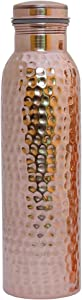 HealthGoodsIn - Traveller's Pure Copper (99.74%) Hammered Water Bottle for Ayurvedic Health Benefits Holds 950 Ml (32.12 US Fluid Ounce) Water   Joint Free, Leak Proof