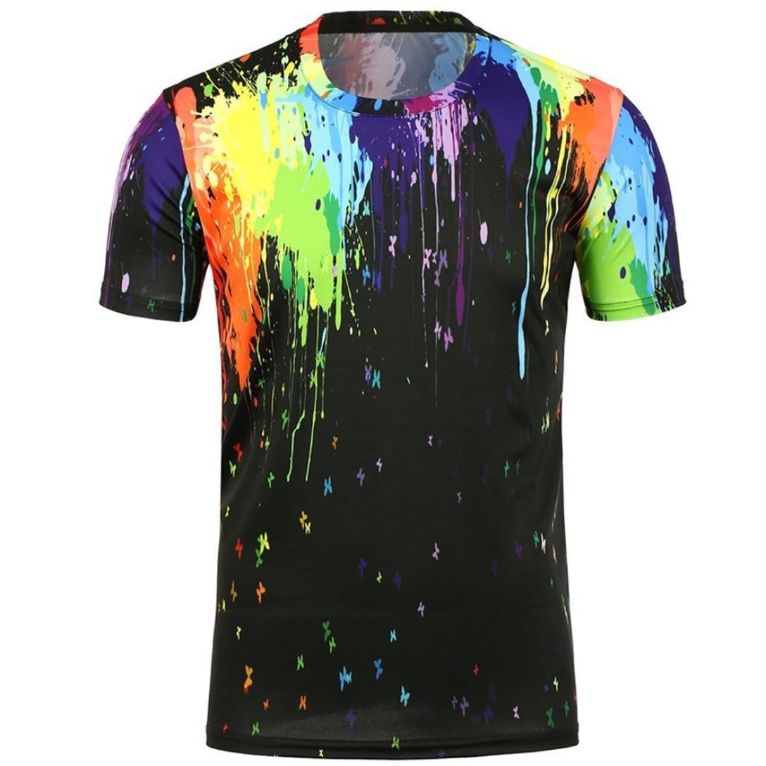 Longra T-Shirts Herren 3D-Muster Gedruckt T-Shirts Shirt beilauml;ufige Grafik Kurzarm-Oberseiten-T-Stuuml;cke Mauml;nner T Shirt Oversize Shirt Kreativ Muster Bluse Tops Tees  XXL|Black