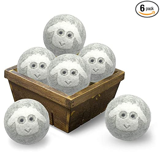 Wool Dryer Balls 6pcs XL-Organic New Zealand Natural Fiber Softener, Reusable Wool Dryer Balls,Baby Preferred - Soft and Gentle Clothes and Skin best dryer balls