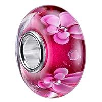 MATERIA murano et perles 3–framboise/motif fleurs rose en argent 925 et verre de murano et perles #1267/motif fleurs
