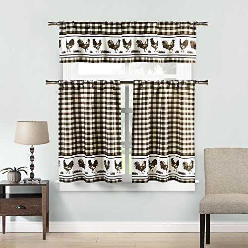 (Home Maison Hellen Rooster Gingham Checkered 3 Piece Kitchen Window Curtain Tier & Valance Set 2 Tiers 29 x 36 & One Valance 58 x 15 Coffee & White)