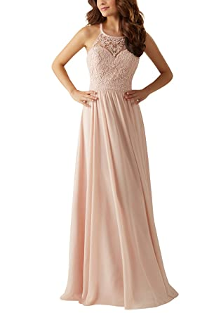 3d016bc0f0 Doramei Women's Spring Bridesmaid Dress High Neck Halter Lace Chiffon  Pleated Special Occasion Prom Dress Blush