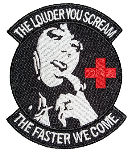 (Leather Supreme The Louder You Scream Naughty Nurse Biker Patch-Red-Medium)