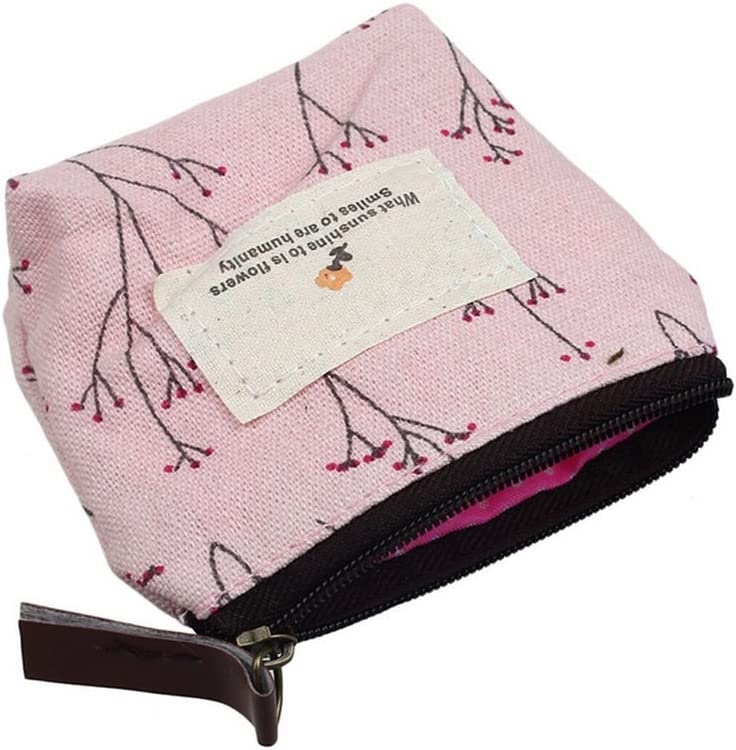 Blue DYLANDY Women Floral Mini Coin Purse Zipper Wallet Key Holder Small Canvas Wallet Pouches Makeup Comestic Bag
