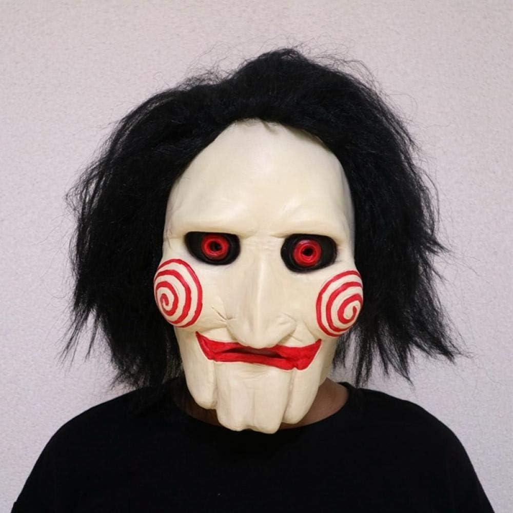 XWYWP Máscaras Halloween Máscaras de Marionetas Jigsaw Latex Espeluznante Halloween Regalo Full Mask Scary Prop Unisex Party Cosplay Suministros Shorthair