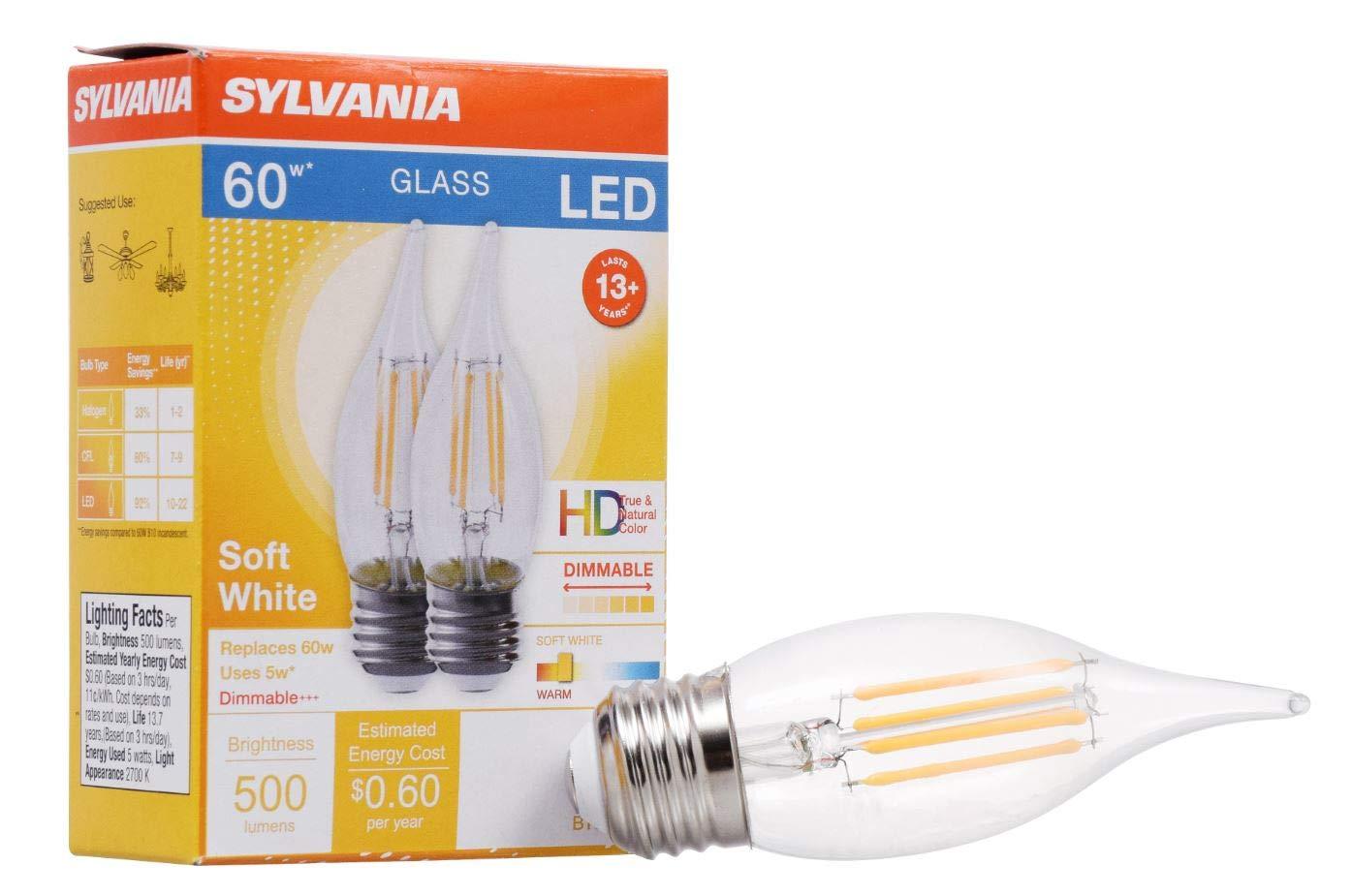 Sylvania 40404 LEDフィラメント電球 B10ランプ 並形口金 クリア仕上げ 効率的な5W ソフトホワイト 2700K 2個パック B07KK5TX6T