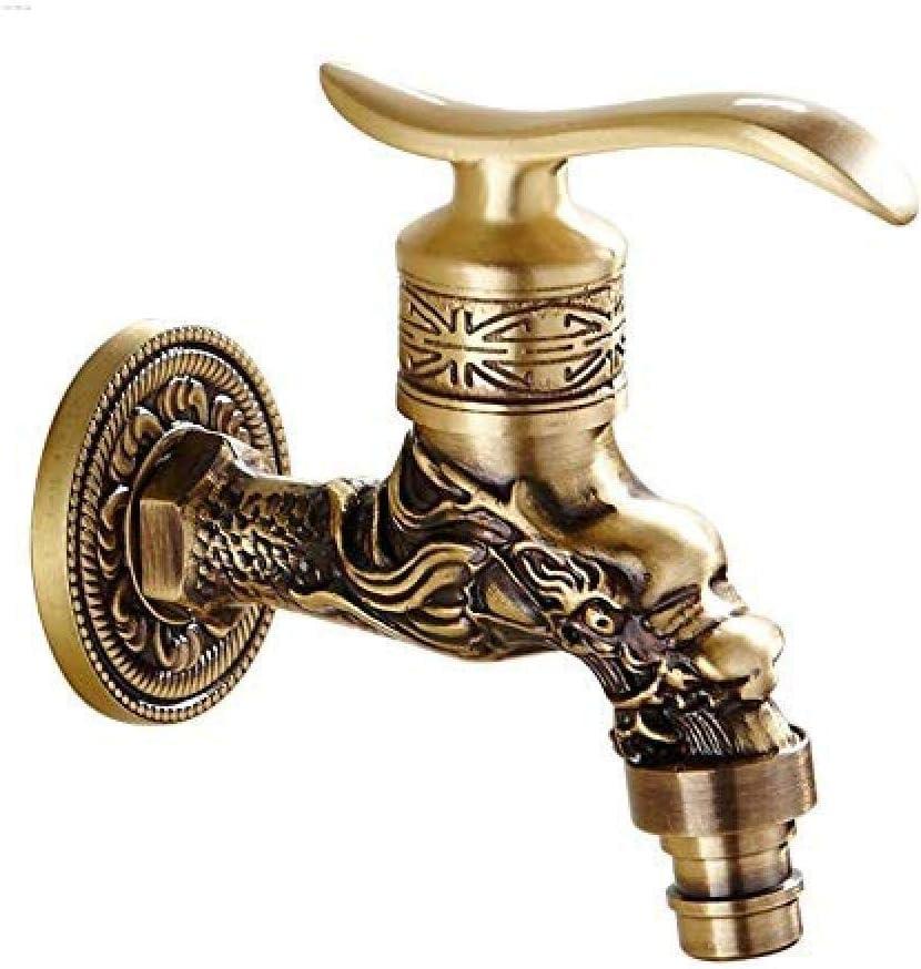 KONGZIR Fashion Faucet Tap Carved Wall Mount Bibcock Brass Retro Tap Decorative Outdoor Garden Taps Washing Machine Mop Luxury Antique Wc Faucet