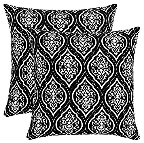 Isabella Beddings Ogee Damask Throw Pillow Case Cover 100% Cotton Cushion Covers Square Eco-Friendly Home Decor for Sofa Couch Bed Black 18x18 inch 45x45 cm Pack of 2