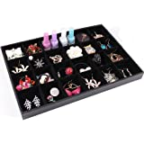 Wuligirl 24 Grid Velvet Jewelry Tray Showcase Display Organizer Storage Bracelet Watch Ring Earring Necklace (24 Grid)