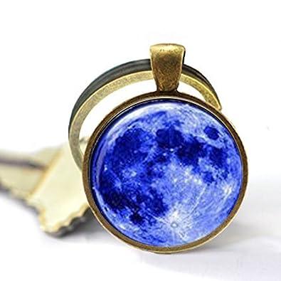 3ff80405a951 aaaAA - Llavero Brillante con Luna Azul
