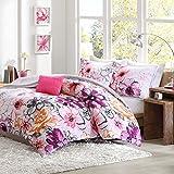 Teen Girls Floral Pink Plum Bedding 9 Piece Bed in a Bag 100% Soft Microfiber Sheet Reversible Solid Grey Kids Comforter Set, FULL/QUEEN