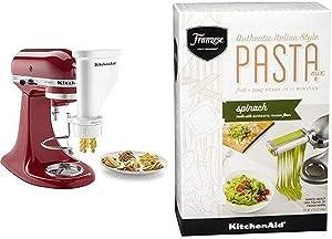 KitchenAid KSMPEXTA Gourmet Pasta Press Attachment with KitchenAid Franzese Spinach Pasta Mix