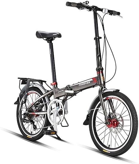WJSW Bicicleta para Adultos Bicicleta Plegable al Aire Libre Niño Niña Bicicleta de Carretera Hombres y Mujeres Ultraligero Portátil Pequeño Aleación de Aluminio de 20 Pulgadas Cambio: Amazon.es: Deportes y aire libre