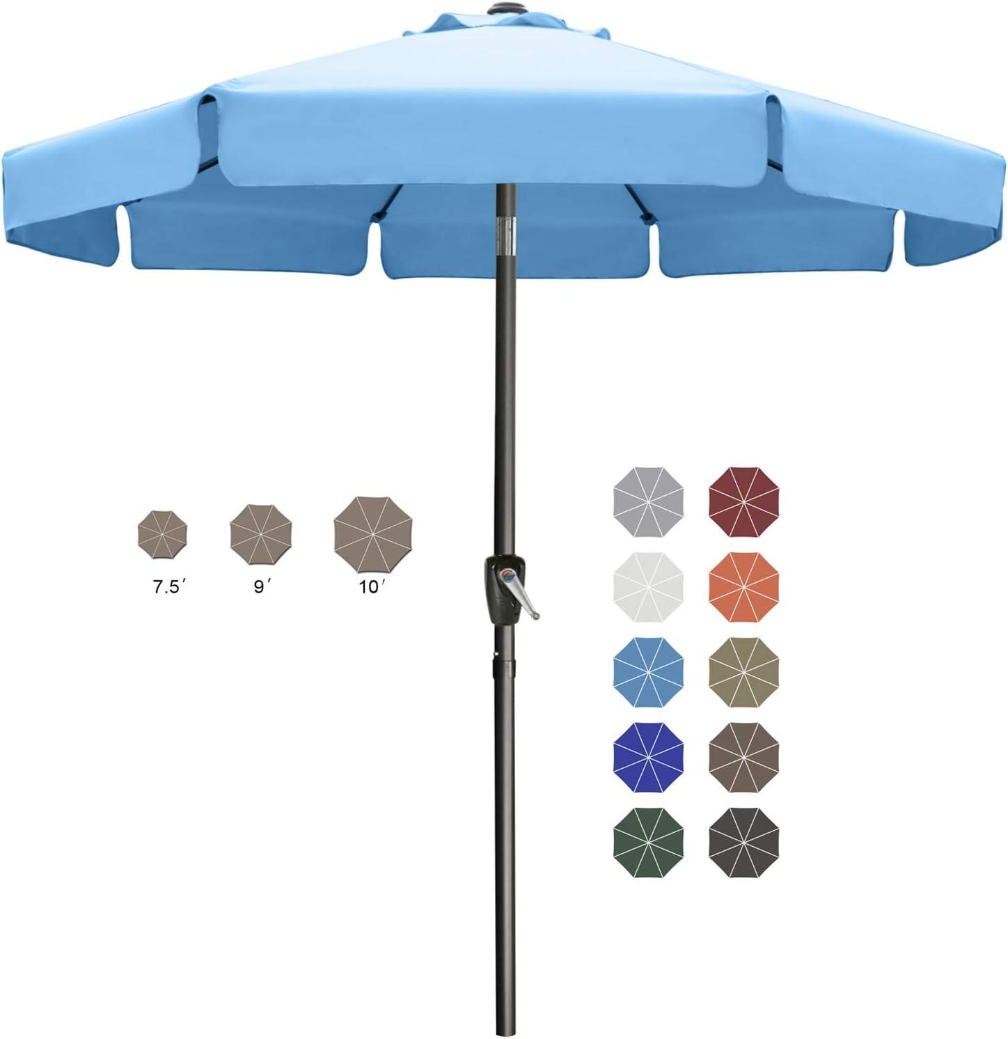 7.5' Outdoor Garden Table Umbrella Patio Umbrella Market Umbrella with Push Button Tilt for Garden, Deck, Backyard and Pool, 8 Ribs 13+Colors,Turquoise