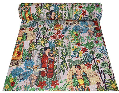Kantha Quilt Gudri Indian Handmade Bohemian Bedspread 90x108 Handmade Kantha Ethnic Stitch Decorative Gudri Print Queen Size Quilt