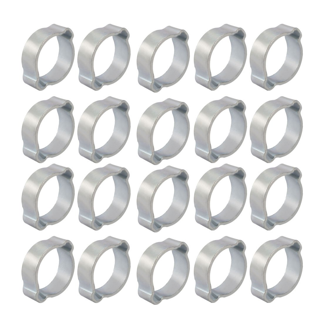 uxcell 20 Pcs Zinc Plated Iron 15mm-18mm 2-Ear Hose Clamp for Fuel Air Water Pipe